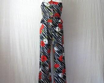 70s Jumpsuit / Pant Suit 2 Piece Set Peplum Top + Flared Pants Two Piece Outfit