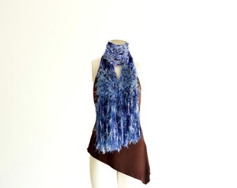 Long Blue Scarf, Fringe, Sparkly Blue Ribbon Womens Scarf, Light Blue and Dark Blue, All Shades of Blue