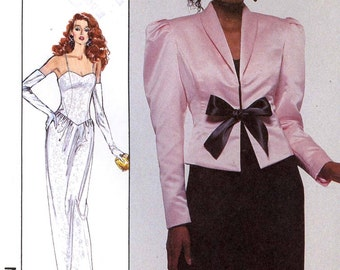 80s Vintage glam Marilyn Monroe style long or short dress and jacket sewing pattern Simplicity 8951-Plus size-bust 40