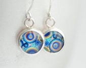 Psychedelic Earrings, Blue, Orange and Yellow Earrings, Mod Jewelry, Retro Earrings, Paper Earrings, Bezel Earrings, 1970's Inspired