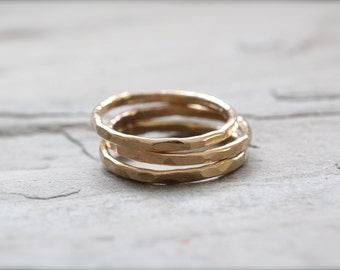 Set of Three Gold Stacking Rings. Heavy Gauge Yellow Gold, Minimalist, Simple Jewelry Made to Order