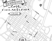 Rhawnhurst Hand-Drawn Map Philadelphia 8x10