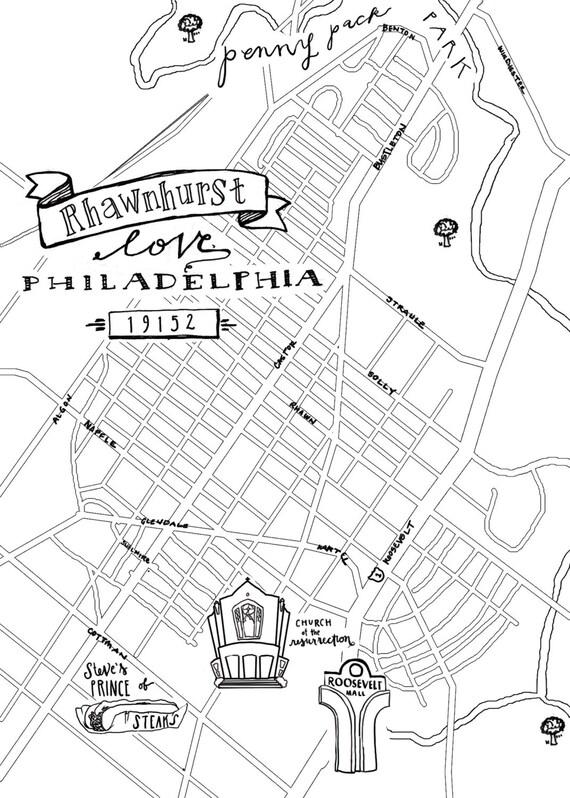 Rhawnhurst Hand-Drawn Map Philadelphia 8x10