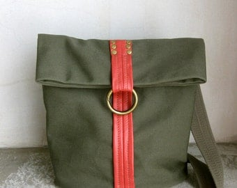 SALE Army Green Bag Sampler with Brick color Leather Decoration