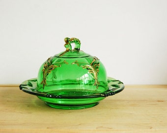 Covered Butter Dish, Emerald Green Pressed Glass Dish, Heisey Winged Scroll, Antique Victorian Glass, Round Plate, Gold Trim, Late 1800s