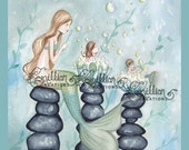 Mermaid Time for Bubble Baths  from Original Watercolor Painting by Camille Grimshaw