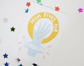 High Fives for Feminism Sticker Matte Finish