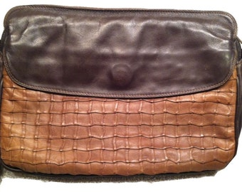 Vintage Enny purse, Handbag, two tone leather - rare design! Chocolate brown nappa leather, italian designer bag