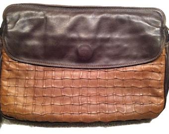 Vintage Enny purse, Handbag, two tone leather - rare design! Chocolate brown nappa leather, italian designer bag