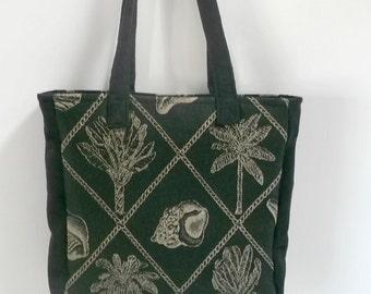 Nautical Summer Purse , Fabric Purse , Nautical Tote Bag , Black Tan , Seashell Handbag , Palm Tree Purse , Womans Handbag , Gifts Under 100