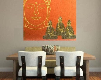"Buddha 14... original painting, 15.7x19.7""/40 x 50 cm, acrylic, collage, canvas, religion, asia, culture, tradition"
