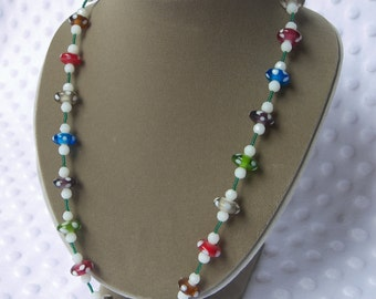 The Mario Necklace- Lampworked and Faceted Glass necklace