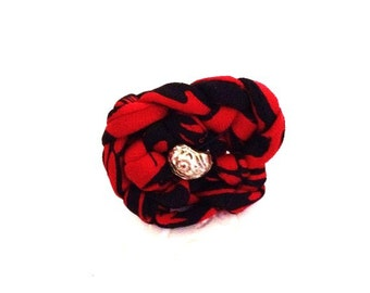 Classic red, black and silver ring is  cowgirl chic for women and girls.