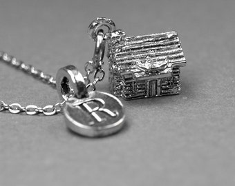 Log Cabin House Necklace, cottage charm, antiqued silver pewter, initial necklace, initial hand stamped, personalized, monogram
