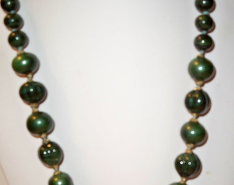 Vintage Malachite Necklace,  Green Bead Necklace, Knotted Malachite Beads Necklace, Adjustable Malachite Necklace, Signed Malachite Necklace