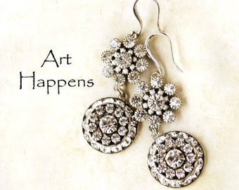 "Stately Wedding Earrings for Elegant Brides, Clear Swarovski Crystal Earrings with Vintage Antiqued Silver Flair, ""Wedding Belles"""