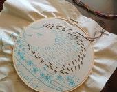 Sleepy Hedgehog Embroidery Pattern - Instant Download