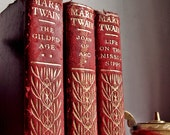 3 Mark Twain Limp Leather Books Early 1900's Red Gilt Harper & Brothers