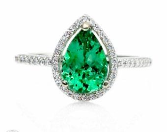Pear Emerald Engagement Ring Diamond Halo Emerald Ring May Birthstone Green Gemstone Ring 14K or 18K Gold Platinum