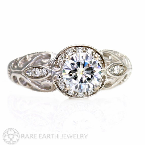 vintage engagement ring halo moissanite ring by