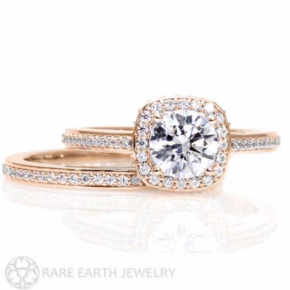 Rose Gold Moissanite Engagement Ring Wedding Set by RareEarth