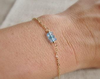 Birthstone bracelet, Thin gold bracelet,  silver or gold layering bracelet, December birthstone, personalized, everyday, simple bracelet