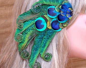 Pacific Peacock Feather Hair Piece - Ready to Ship