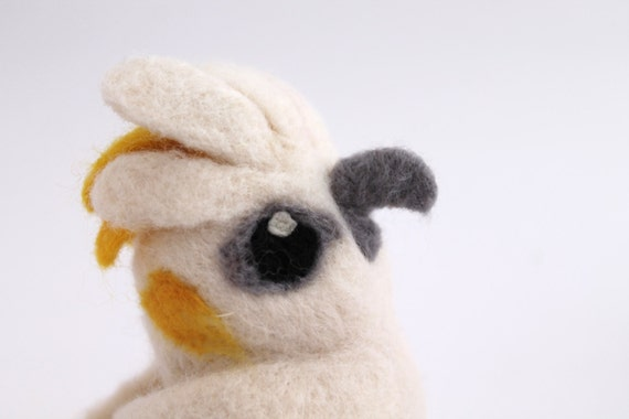 Punky Sulphur Crested Cockatoo White and Yellow Real Bird Needle Felted Bird