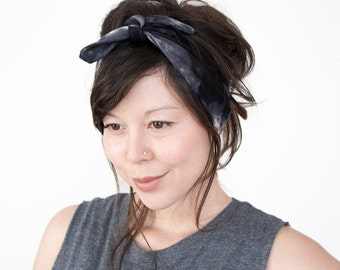 Tie Up Headscarf // Hair Wrap // Knotted Headband // Fabric Hairband // Black Tie Dye