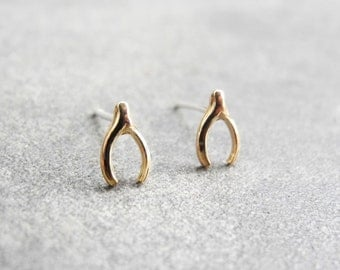 Tiny Wishbone Stud Earrings, Wishbone Jewelry, Brass Jewelry, Good Luck Charm, Minimalist Earrings, Sterling Silver Hypoallergenic (E217)