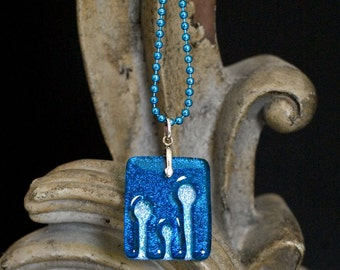 Enoki Blue Carved Dichroic Glass Pendant - FREE SHIPPING!