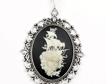 Steampunk Gothic Sailor Pirate Lady Ship Big Dramatic Black and White Fantasy Cameo Necklace with Silver Setting by Velvet Mechanism