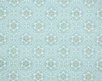 1940's Vintage Wallpaper - Blue White and Metallic Silver Geometric