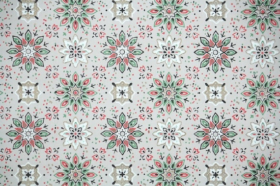 1940s Vintage Wallpaper by the Yard - Red and Green Goemetric Design with White and Metallic Gold Accents