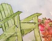 Green Adirondack Chair Watercolor Painting Print ACEO