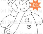 Bundle Up Snowman - Instant Download Digital Stamp