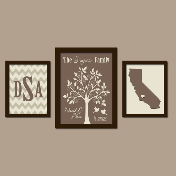 Personalized Wedding Canvas: Family Tree Wall Art Personalized Monogram CANVAS Or Prints