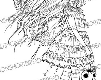 Digital Stamp Moss Fairy Skull, Goth Fantasy, Digi Download, Gothic Halloween Anime, Clip Art, Coloring Page, Scrapbooking Supplies
