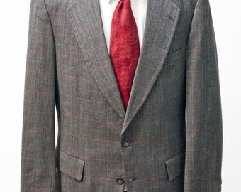 Men's Two-Piece Suit / Grey Windowpane Plaid Jacket / Vintage Size 42