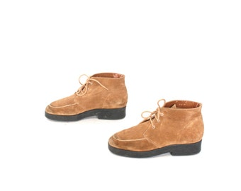 size 8 PLATFORM tan leather 80s 90s CHUKKA HIKING lace up ankle boots