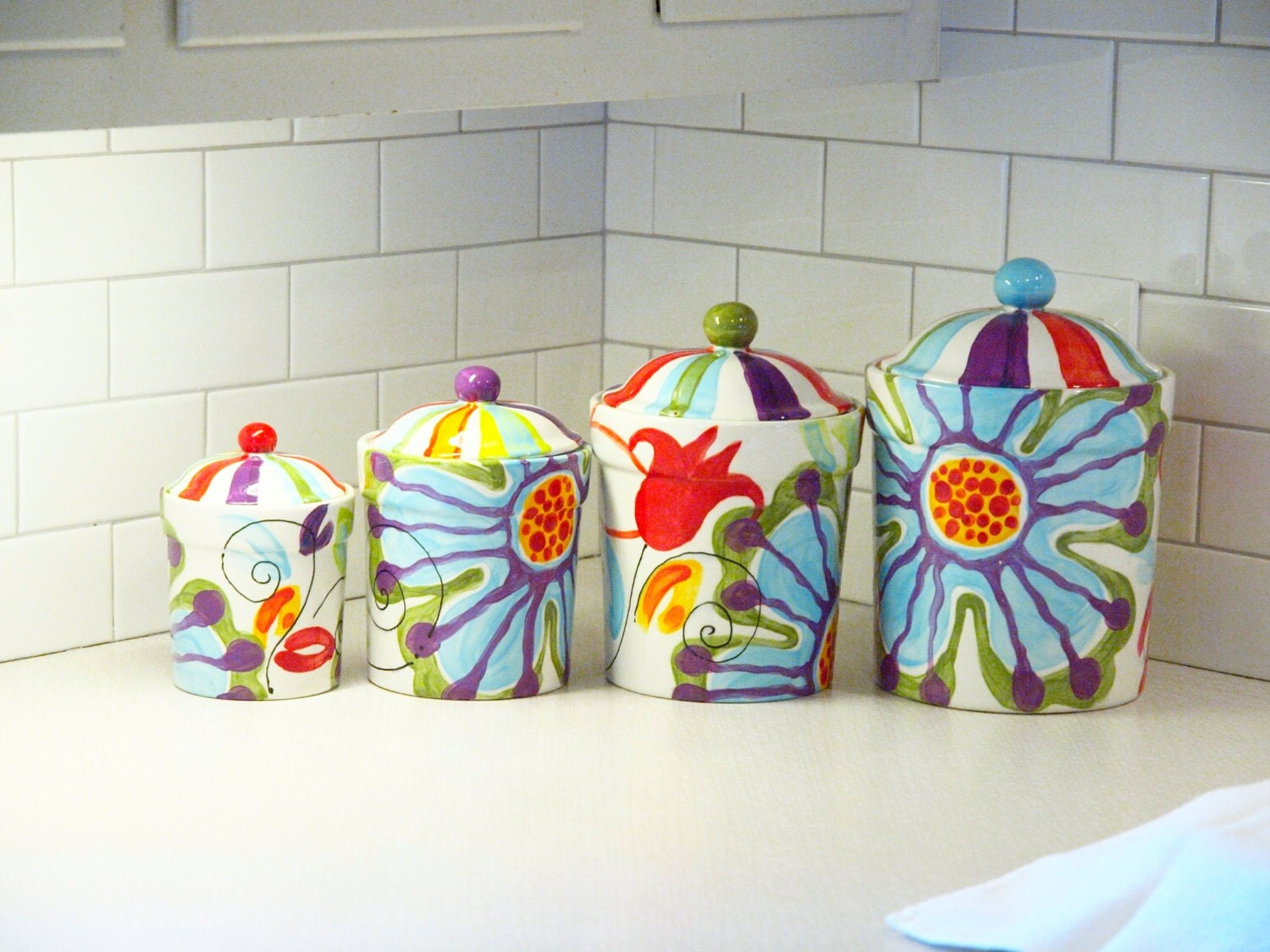Colorful Canisters 28 Images Canisters Bathroom Canister Set Of Three Colorful By Kitchen