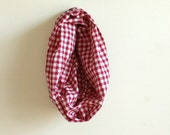 s a l e // CHILDS SCARF / red and white gingham / vintage cotton