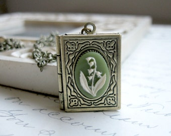 Lily of the valley necklace, book locket, womens gift, sage green, keepsake locket, nature, woodland, vintage style