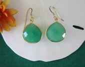 Green Teardrop Earrings Gold, or Sterling Silver, Chalcedony, Bright Earrings,  Small, Tear Drop Gemstone, Heart Shape, Dangle Earrings