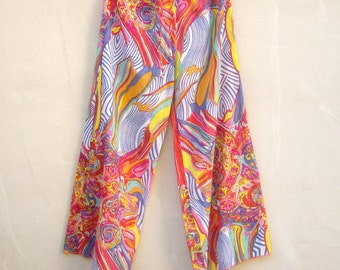 Vintage festival pants / psychedelic sheer cotton pjs / drawstring cover up lounge pants