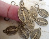 20 Small Miraculous Medals in Vintage Bronze, Catholic Jewelry Supplies