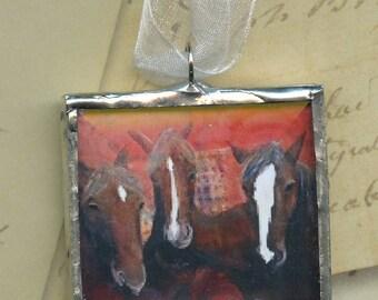 Ornament - Cherokee Language Series -  Tsoi Soquili = Three Horse