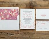 letterpress wedding invitation paper crane origami