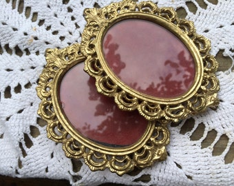 Pair of Vintage Solid Brass Lacquered Pictures Frames with Glass
