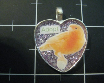 Adopt a Bird Pendant, Perching Finch, 50% goes to the current selected animal charity